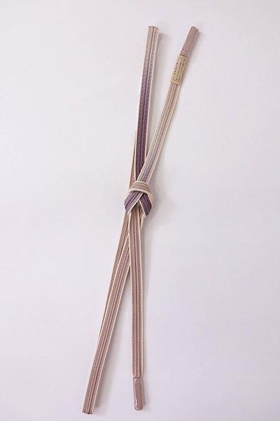 【G-1887】京都 衿秀製 帯締め 綾竹組 胡桃染色×葡萄鼠色 二色暈かし