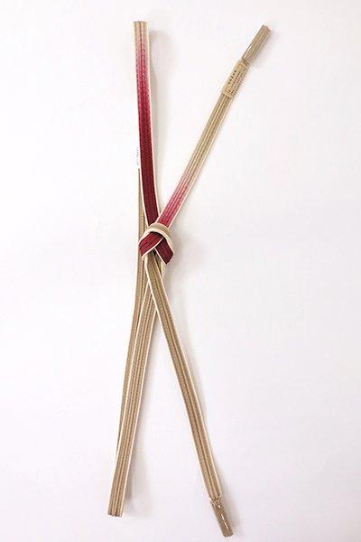 【G-1888】京都 衿秀製 帯締め 綾竹組 紫染色×赤胴色 二色暈かし