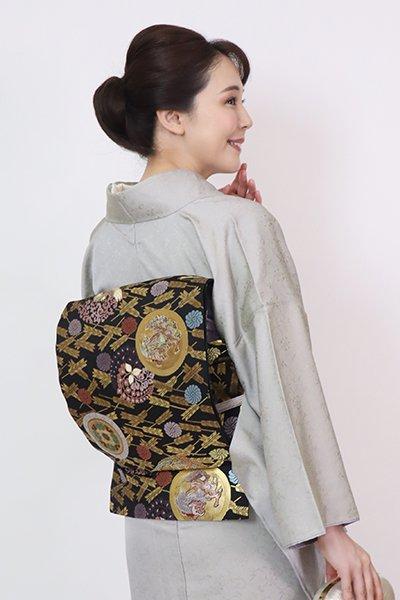 銀座【L-5772】袋帯 黒色 宝相能衣文