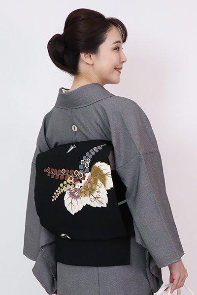 銀座【K-7723】縮緬地 開き染名古屋帯 黒色 桐の図