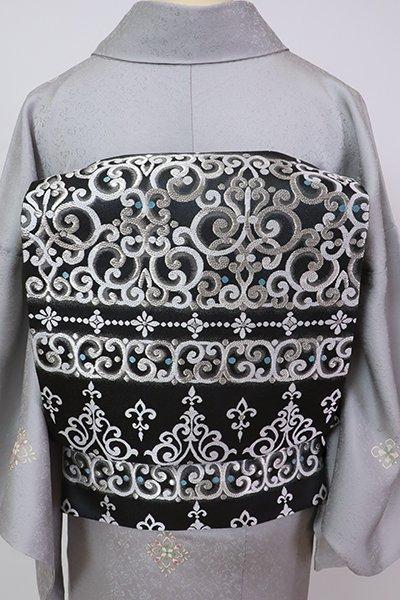 銀座【L-5781】西陣 洛陽織物製 袋帯 蝋色 横段に装飾文(落款入)