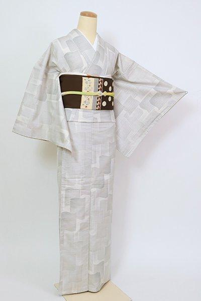 銀座【A-3452】(L・細め)白大島紬 白練色 瓦文