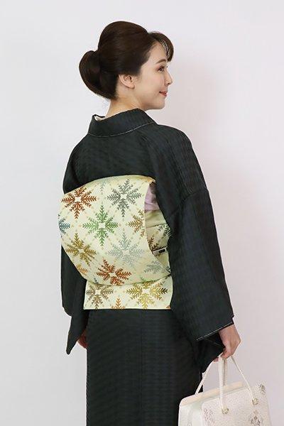 銀座【K-7725】西陣 川島織物製 織名古屋帯 若菜色 松葉文