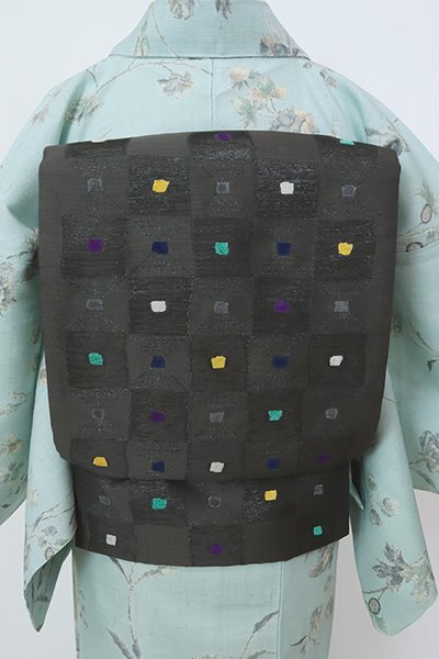 銀座【L-5783】洒落袋帯 墨色 多彩な幾何文