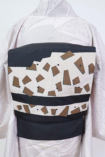 銀座【L-5784】西陣 今河織物製「木屋太」 洒落袋帯 墨色 幾何文(落款入)