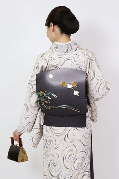 銀座【K-7742】染名古屋帯 褐色 波千鳥