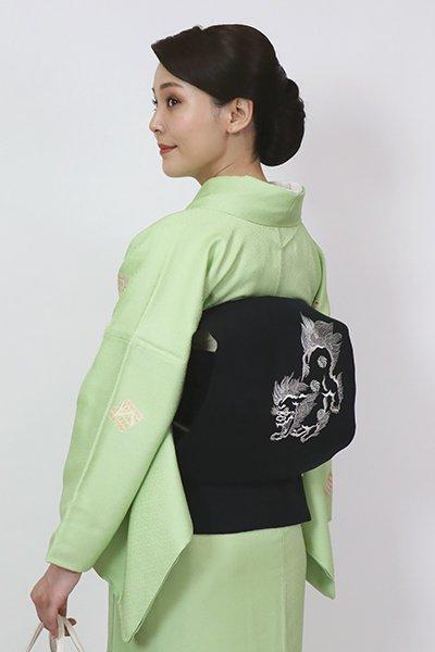 銀座【K-7740】木綿地 刺繍 名古屋帯 藍鉄色 唐獅子文(くるり扱い)