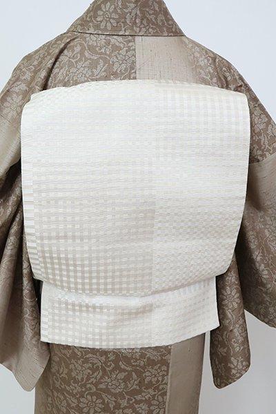 銀座【L-5785】洒落袋帯 生成り色 市松に格子文
