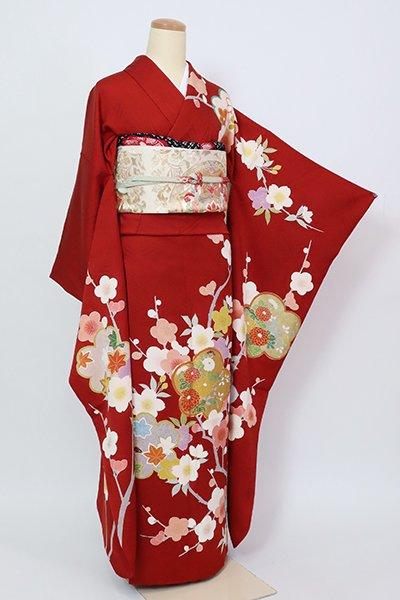 銀座【B-2973】振袖 赤銅色 梅や桜の図