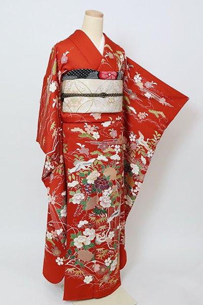 銀座【B-2974】振袖 緋色 四季花に鶴の図
