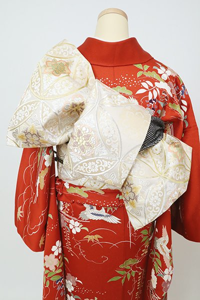 銀座【L-5793】袋帯 薄卵色 七宝文(三越扱い)