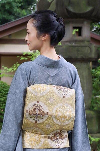 銀座【帯4006】西陣 山口弘躬製 袋帯「連珠華文」