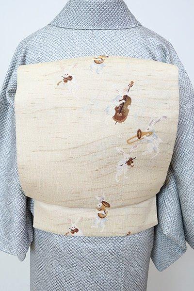 銀座【L-5796】洒落袋帯 練色 兎のオーケストラの図