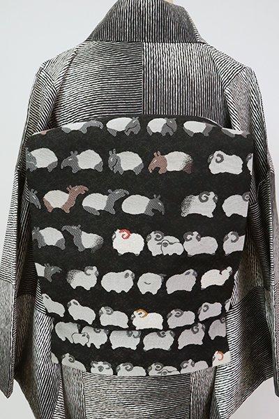 銀座【K-7784】開き織名古屋帯 黒色 羊と獏の図