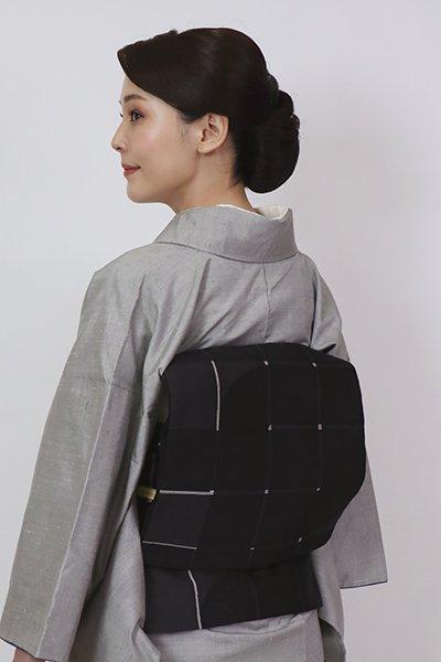 銀座【L-5776】西陣 織楽浅野製 洒落袋帯 黒色 幾何文(証紙付)