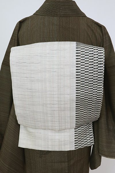 銀座【L-5797】西陣製 洒落袋帯 白練色 幾何文(証紙付)