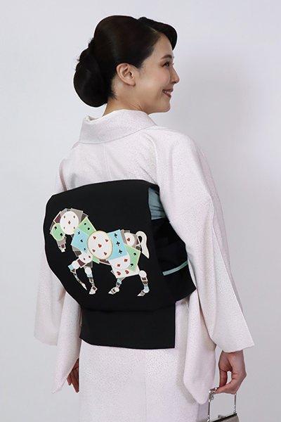 銀座【K-7744】塩瀬 染名古屋帯 黒色 トランプの馬