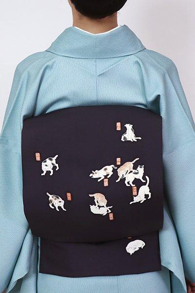 銀座【K-7748】塩瀬 染名古屋帯 青褐色 猫飼好五十三疋