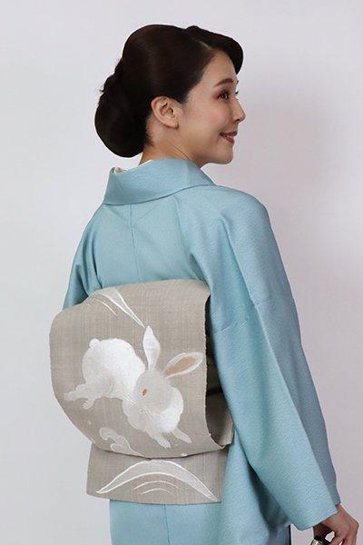 銀座【K-7749】紬地 刺繍 八寸名古屋帯 深い絹鼠色 波兎文