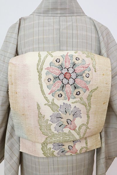 銀座【K-7797】紬地 八寸織名古屋帯 象牙色 唐花の図