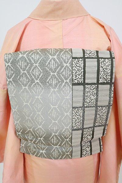 銀座【L-5799】西陣製 洒落袋帯 鼠色 幾何文