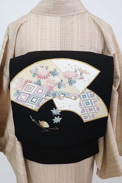 銀座【K-7812】縮緬地 染名古屋帯 黒色 扇面に秋草の図(長尺)