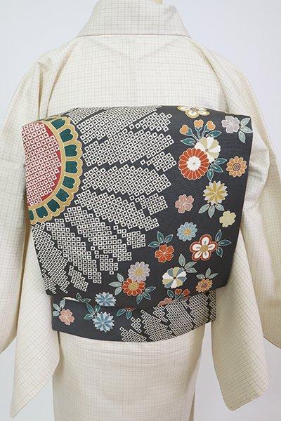 銀座【K-7814】塩瀬 染名古屋帯 藍墨茶色 菊の図