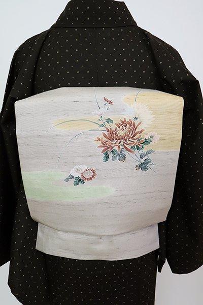 銀座【K-7818】紬地 染名古屋帯 絹鼠色 霞に菊の図(落款入)