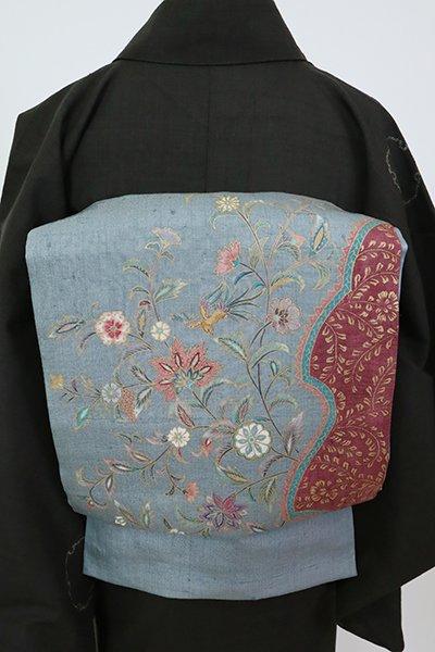 銀座【L-5805】紬地 洒落袋帯 藍鼠色 更紗花文