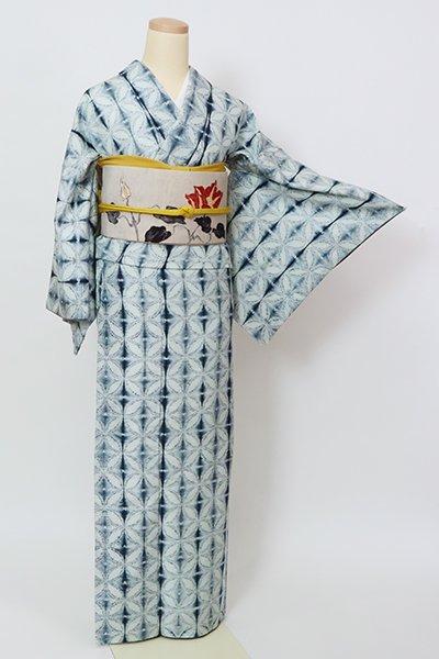 銀座【D-2920】結城紬地 絞り染め 小紋 藍白色 七宝文(反端付)