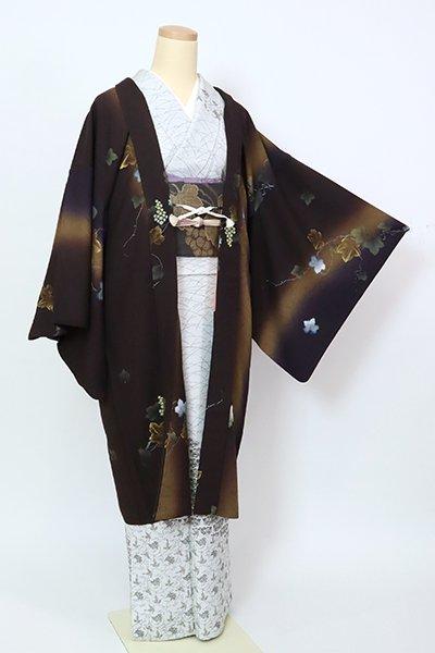 銀座【E-1443】羽織 黒鳶色 竪暈かしに葡萄の図