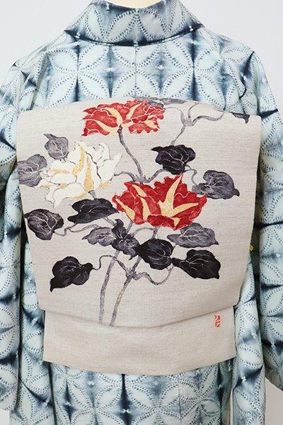 銀座【K-7820】紬地 染名古屋帯 絹鼠色 花の図(落款入)