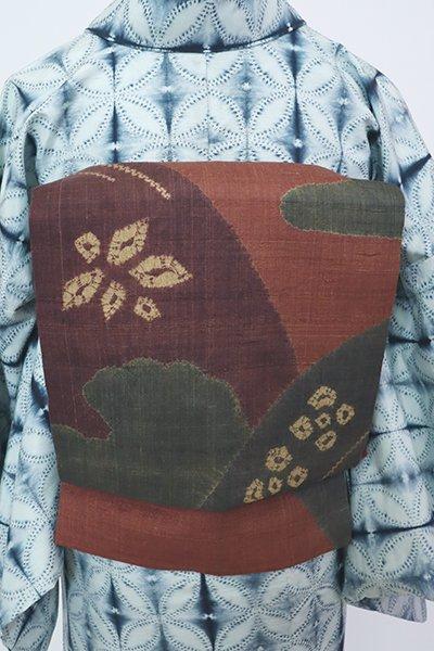 銀座【K-7821】紬地 絞り染め 名古屋帯 璃寛茶色×柿渋色×赤褐色 抽象文