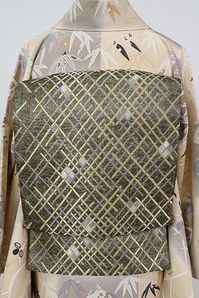 銀座【L-5810】袋帯 媚茶色 斜め格子に幾何文