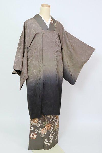 銀座【E-1444】(細め)リバーシブル 道行コート 江戸鼠色×紫黒色 裾暈かし 牡丹唐草の地紋