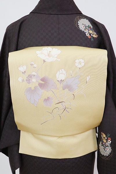 銀座【K-7827】塩瀬 染名古屋帯 木蘭色 撫子や芙蓉の図