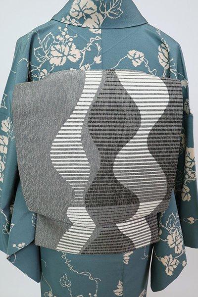 銀座【L-5813】洒落袋帯 灰色 流線文(落款入)