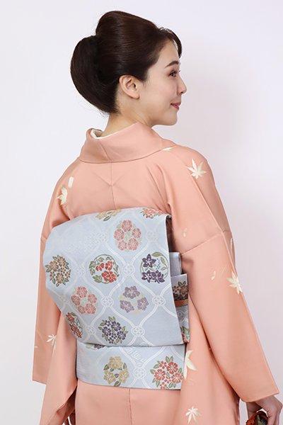 銀座【K-7803】織名古屋帯 秘色色 網目に四季花の図