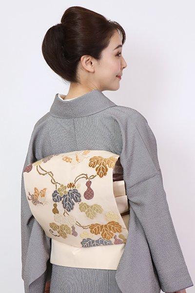 銀座【K-7804】織名古屋帯 薄卵色 瓢箪に蝶の図