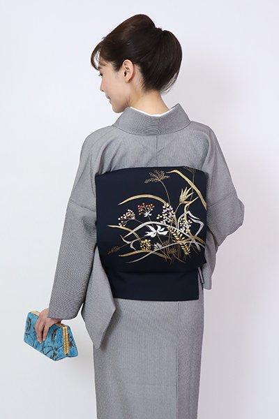 銀座【K-7805】塩瀬 染名古屋帯 藍鉄色 秋草の図