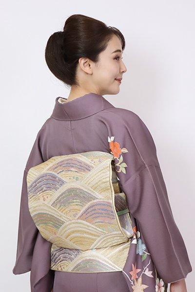 銀座【L-5801】袋帯 金色 青海波文