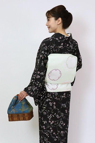 銀座【L-5802】西陣製 袋帯 淡い白緑色 雪輪文(証紙付)