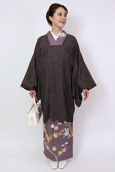 銀座【E-1440】道行コート 黒紅色 秋草の地紋