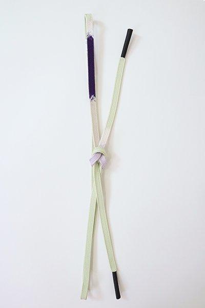 【G-1890】京都 衿秀製 帯締め 内記組 紫紺色×白緑色 段ぼかし