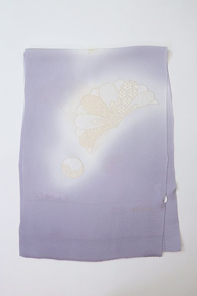 【G-1894】京都衿秀 帯揚げ 菊花文 牡丹鼠色
