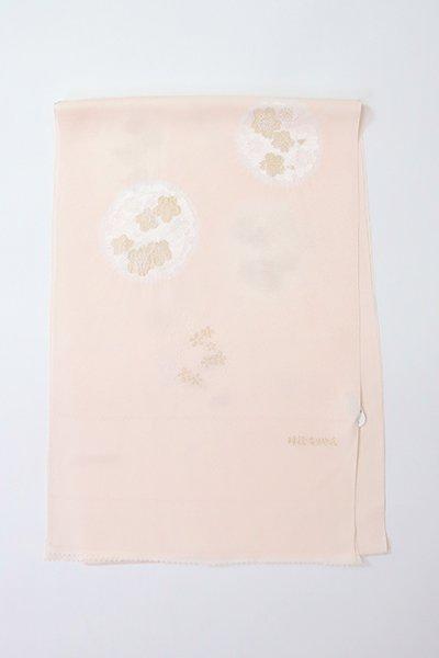 【G-1896】京都衿秀 帯揚げ 雪輪に梅や桜の図 薄卵色