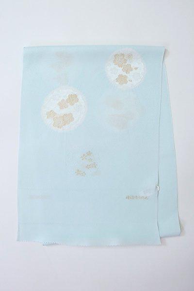 【G-1898】京都衿秀 帯揚げ 雪輪に梅や桜の図 月白色