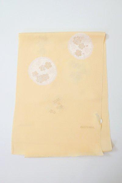【G-1899】京都衿秀 帯揚げ 雪輪に梅や桜の図 卵色
