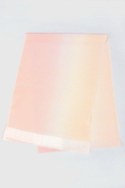 【R-100】正絹 縮緬無地帯揚げ 2色ぼかし 虹色×練色