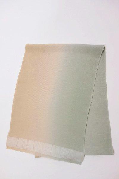 【R-200】正絹 縮緬無地帯揚げ 2色ぼかし 枯色×青磁色